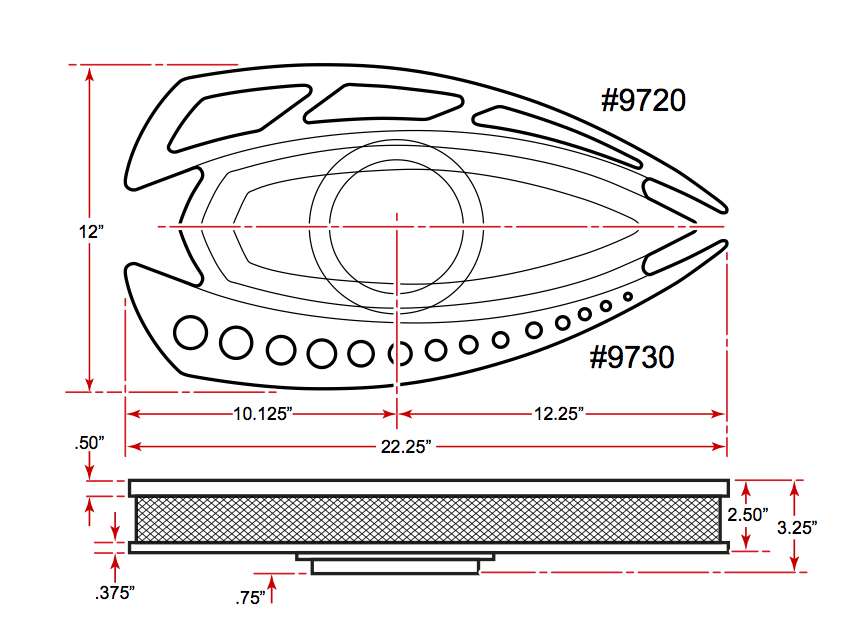 Style Track Air Cleaner Dimensions