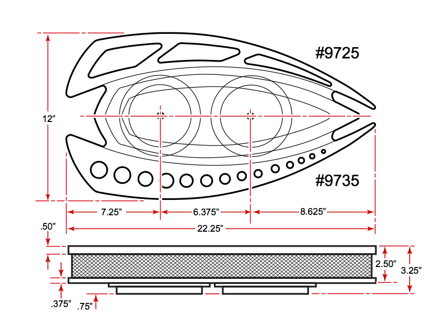 Style Track Dual Carb Air Cleaner Dimensions